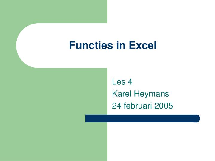 Functies in excel