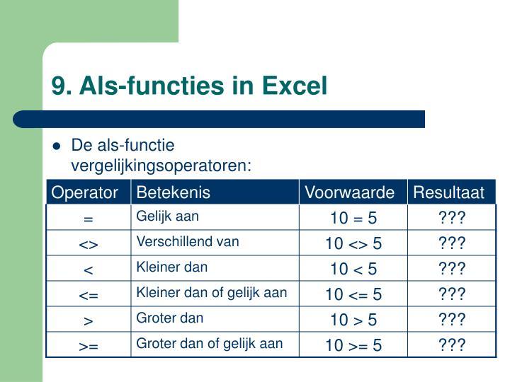 9. Als-functies in Excel