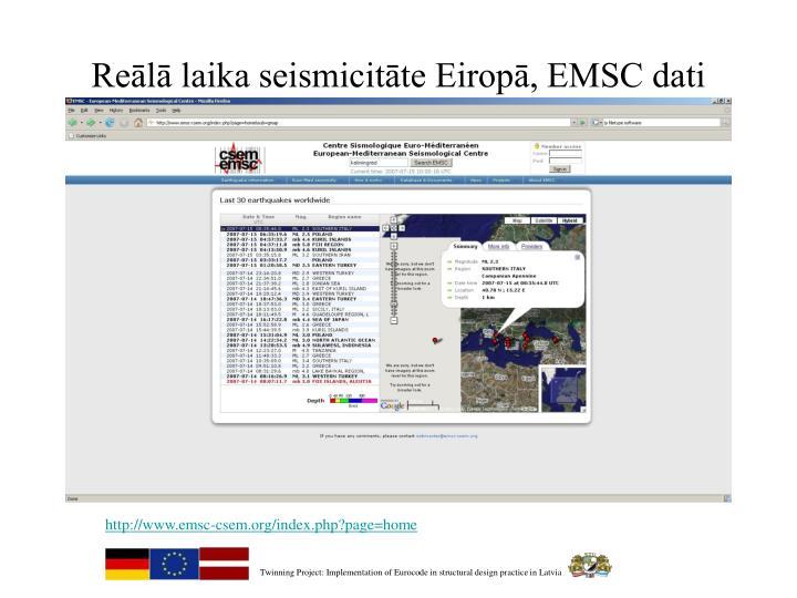 Reālā laika seismicitāte Eiropā, EMSC dati
