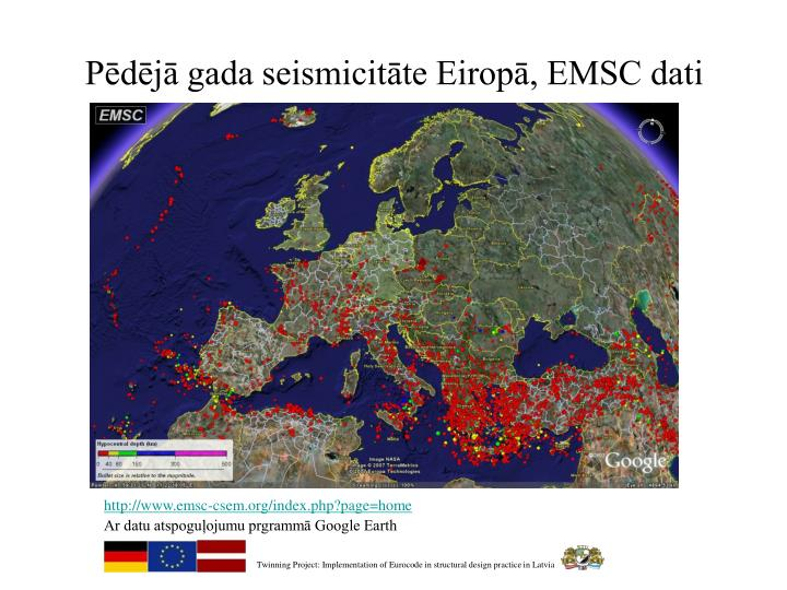 Pēdējā gada seismicitāte Eiropā, EMSC dati