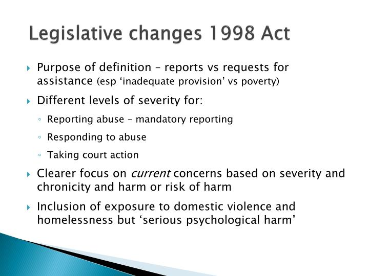 Legislative changes 1998 Act