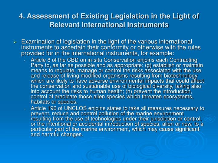 4. Assessment of Existing Legislation in the Light of Relevant International Instruments
