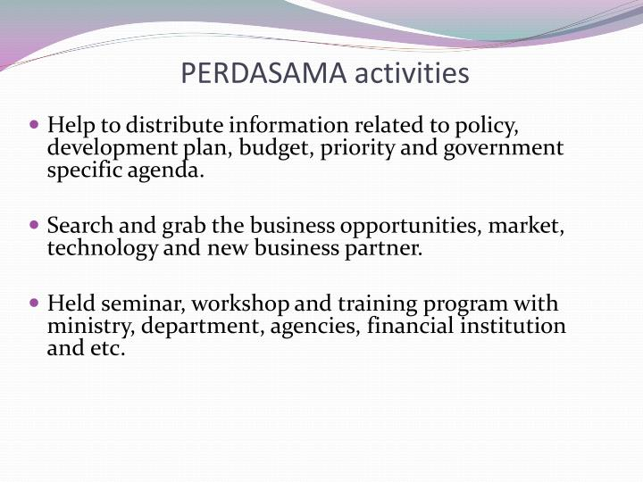 PERDASAMA activities