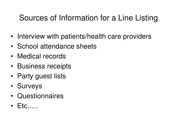 Sources of Information for a Line Listing