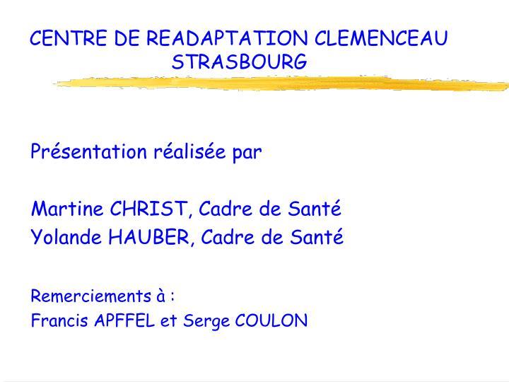 CENTRE DE READAPTATION CLEMENCEAU STRASBOURG