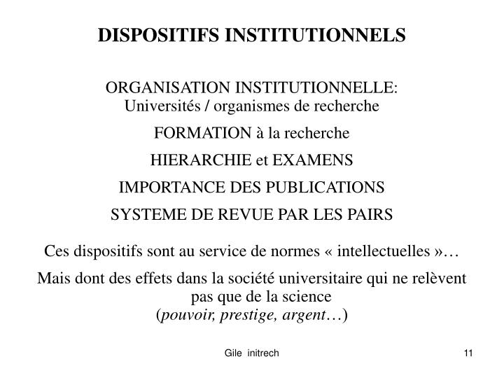 DISPOSITIFS INSTITUTIONNELS