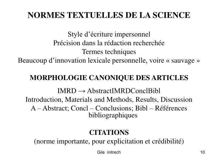 NORMES TEXTUELLES DE LA SCIENCE