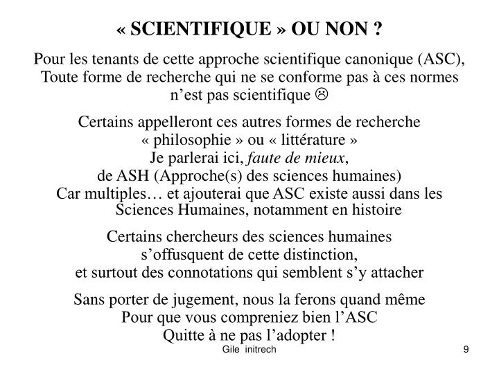 « SCIENTIFIQUE » OU NON ?