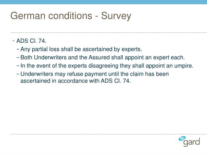 German conditions - Survey