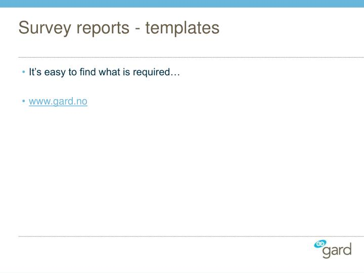 Survey reports - templates