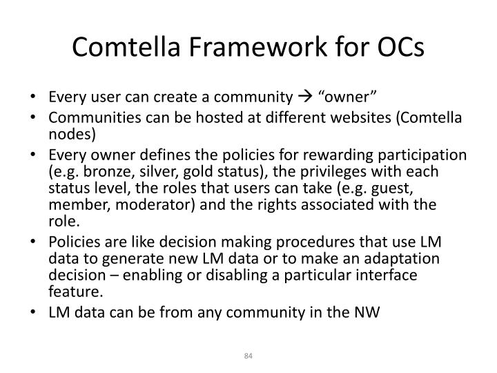 Comtella Framework for OCs