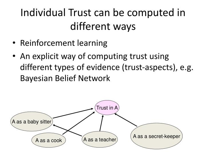 Individual Trust can be computed in different ways
