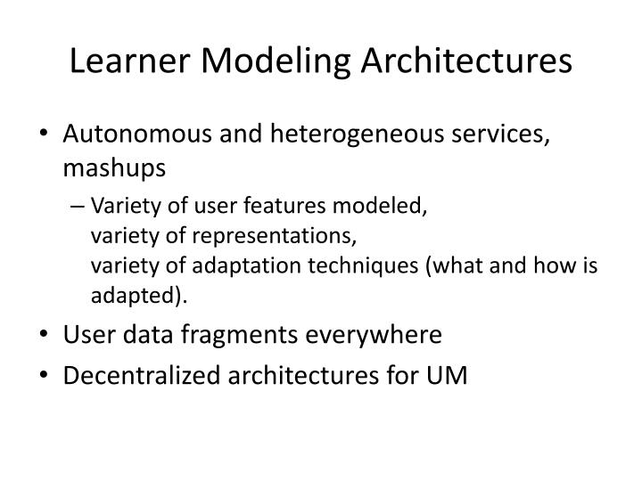 Learner Modeling Architectures