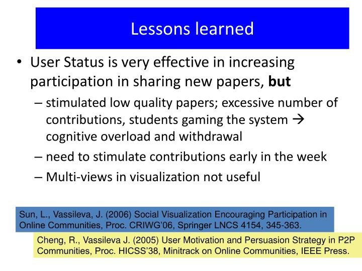 Sun, L., Vassileva, J. (2006) Social Visualization Encouraging Participation in