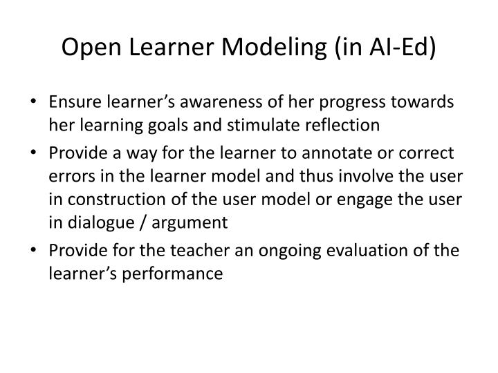 Open Learner Modeling (in AI-Ed)