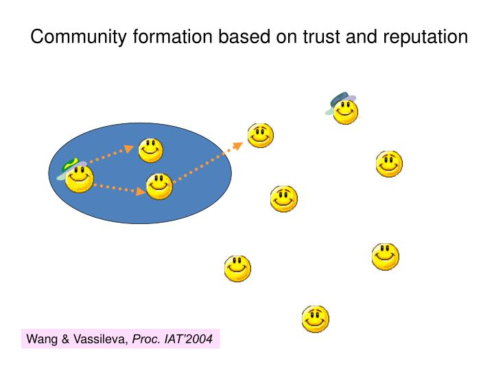 Community formation based on trust and reputation