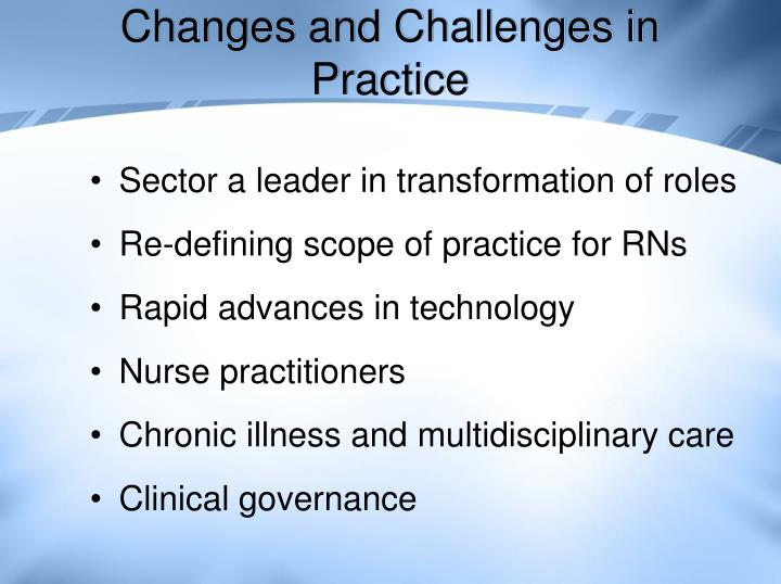 Changes and Challenges in Practice