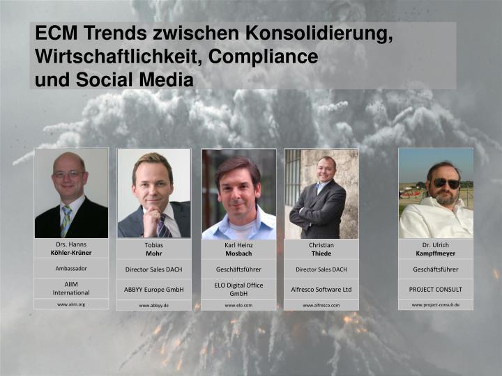 ECM Trends zwischen Konsolidierung, Wirtschaftlichkeit, Compliance