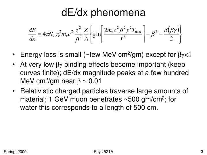 dE/dx phenomena