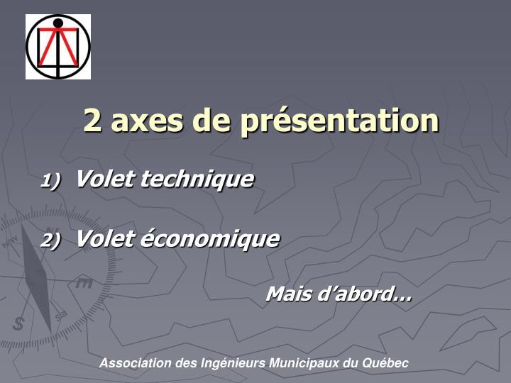 2 axes de présentation