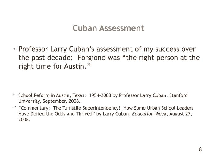 Cuban Assessment