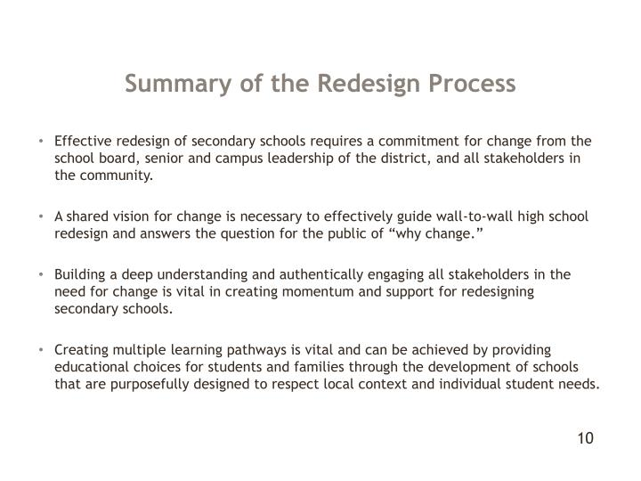 Summary of the Redesign Process