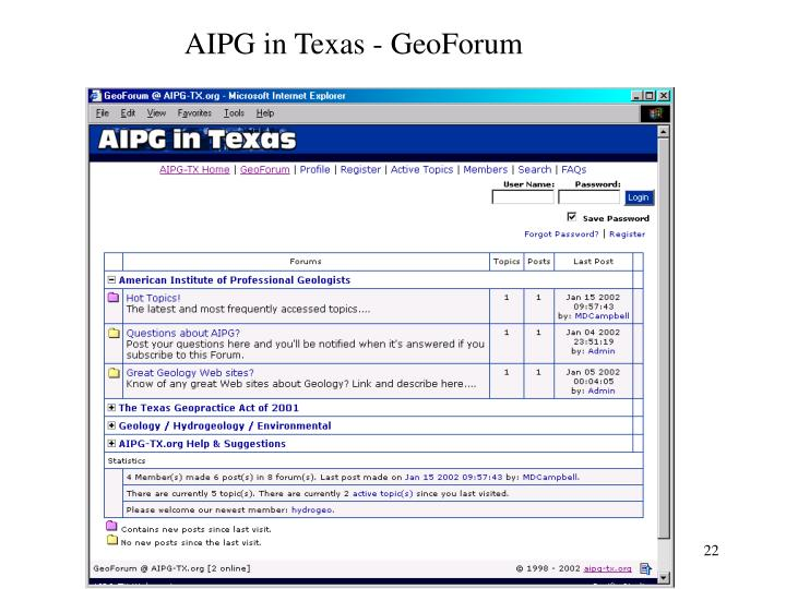 AIPG in Texas - GeoForum