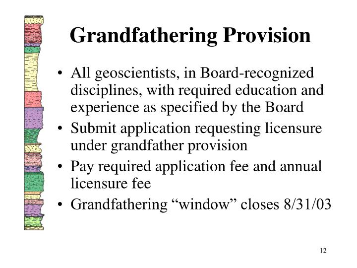 Grandfathering Provision