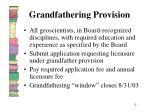 grandfathering provision