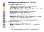 initial board members as of 11 19 01