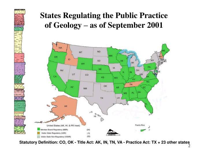 States Regulating the Public Practice