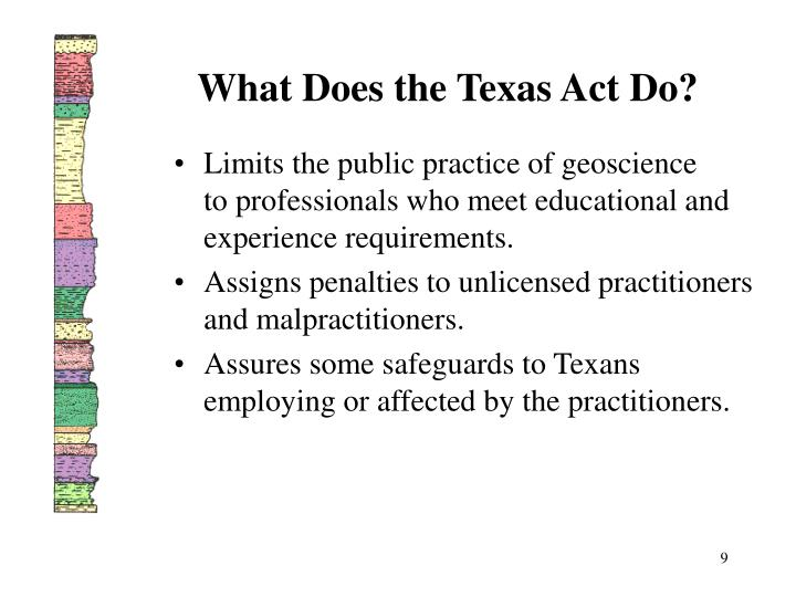 What Does the Texas Act Do?