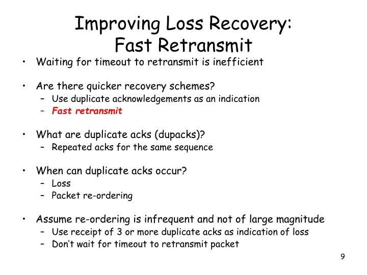 Improving Loss Recovery: