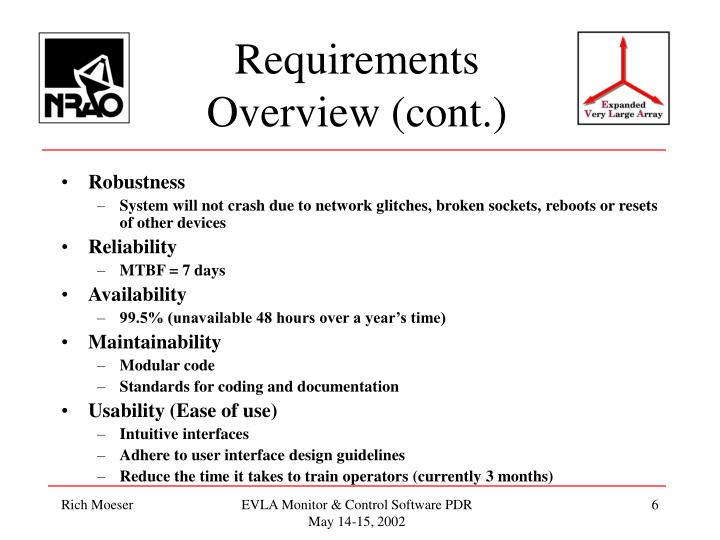 Requirements Overview (cont.)