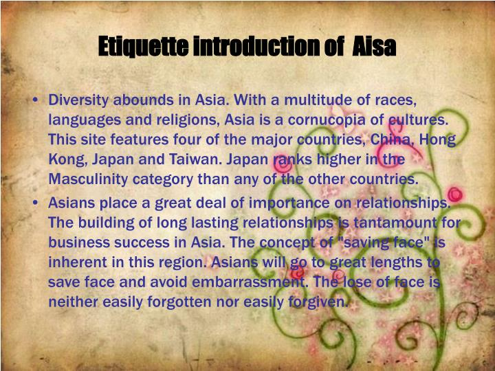 Etiquette introduction of  Aisa