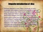 etiquette introduction of aisa