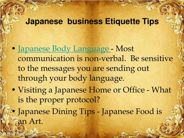 Japanese  business Etiquette Tips