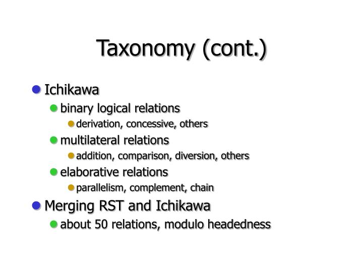 Taxonomy (cont.)