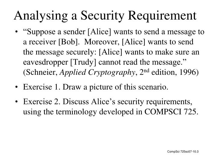 Analysing a Security Requirement