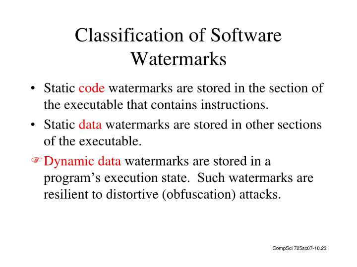 Classification of Software Watermarks