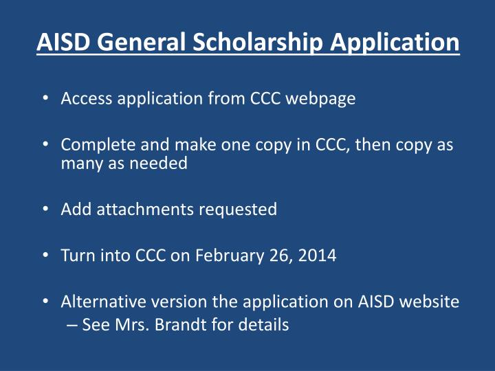 AISD General Scholarship Application