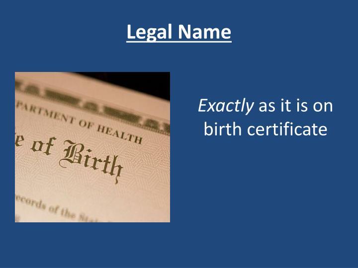 Legal Name