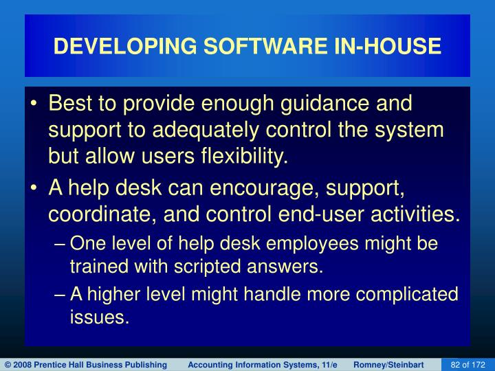 DEVELOPING SOFTWARE IN-HOUSE