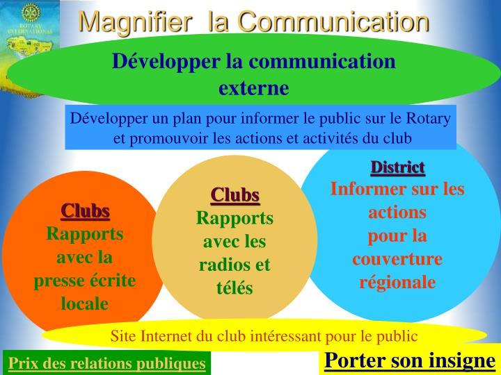 Magnifier  la Communication