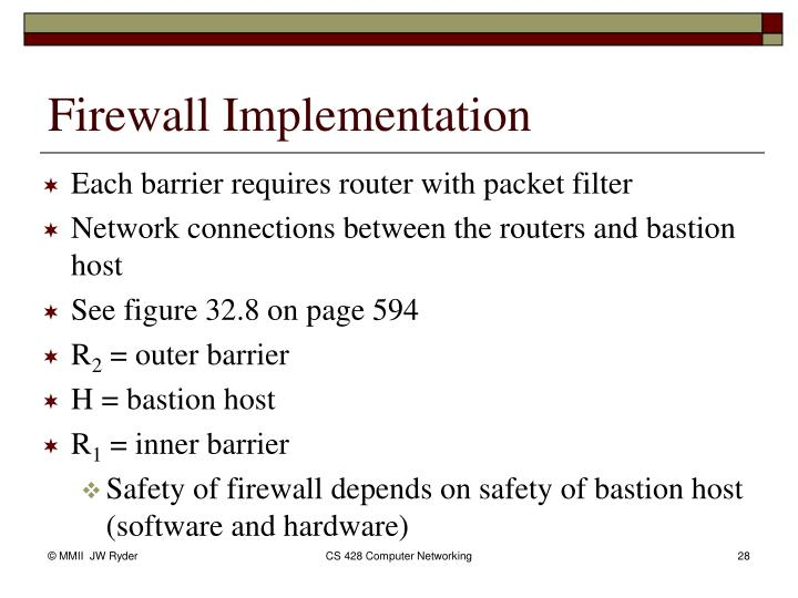 Each barrier requires router with packet filter