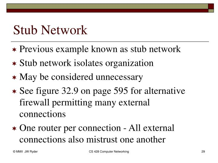 Previous example known as stub network