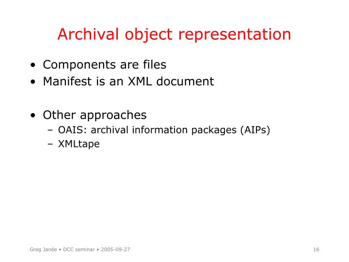 Archival object representation
