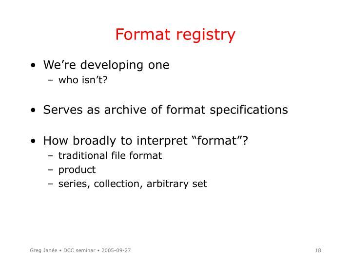 Format registry