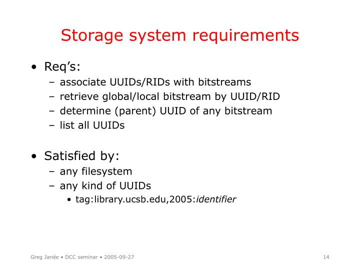 Storage system requirements