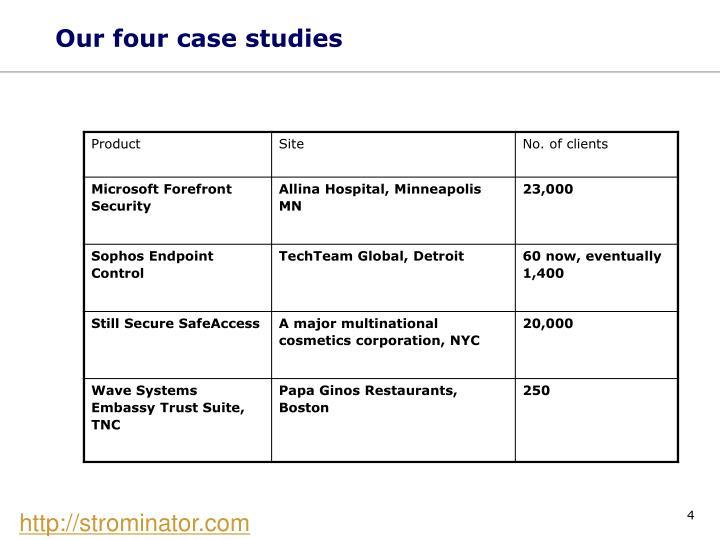 Our four case studies